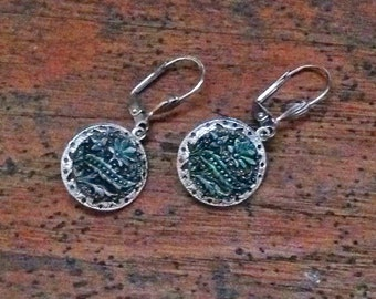Earrings made from 1800s Victorian Black Glass Buttons with Silvery Green Luster