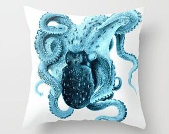 Octopus Pillow Cover, Nautical Pillow, Nautical Decor, Vintage Octopus Art, Beach House Pillow, Throw Pillow, Decorative Throw Pillow