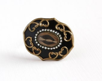 Sale - Antique Gold Filled Victorian Black Enamel & Seed Pearl Hair Mourning Brooch - Mid 1800s Rare Collectible Remembrance Pendant Jewelry