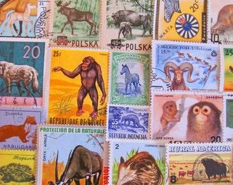 Animal Farm 50 Vintage Animals Postage Stamps Mammals Elephant Anteater Fox Bat Monkey Bear Platypus Natural History Worldwide Philately 2