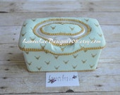 READY TO SHIP Metallic Gold Deer Heads on Mint Green, Flip Top  Nursery Wipe Case, Large Wipes Tub, Pop Top,Baby Wipe Case, Baby Shower Gift