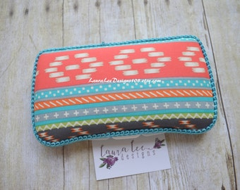 READY TO SHIP, Turquoise Orange Gray and Cream Aztec Print, Tribal, Baby Wipe Case, Travel Wipe Case, Personalized Case, Diaper Wipe Case