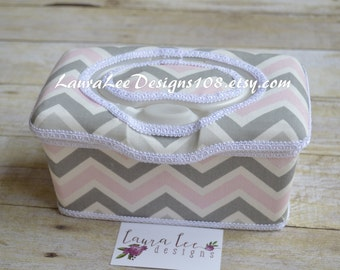 Pink and Gray Chevron Flip Top Nursery Wipe Case, Diaper Wipe Case, Nappy Wipe Case, Diaper Wipes Case, Baby Wipe Case, Large Wipes Tub