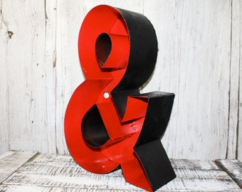 Ampersand, Red and Black Metal, Vintage, Letter, Sign