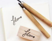 Customised handlettered name rubber stamp
