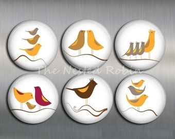 1 inch BIRD MAGNETS with gift pouch or 1.25 inch Bird Magnets - Set of 6