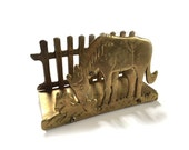 San Pacific San Francisco Brass Horse and Foal Napkin Letter Holder with Picket Fence