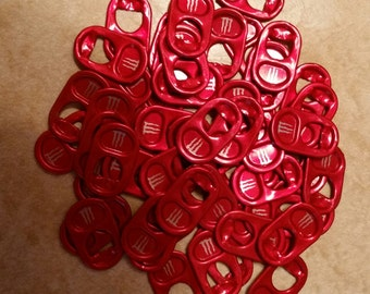 50 Red Monster Energy Drink Can Tops Aluminum Soda Pop Pull Tabs Crafting Can Tabs