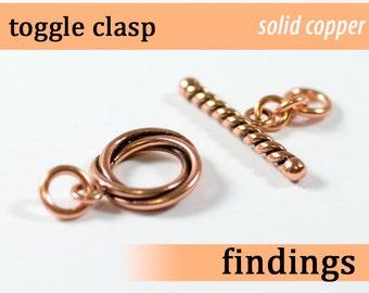 Solid copper circle toggle clasp