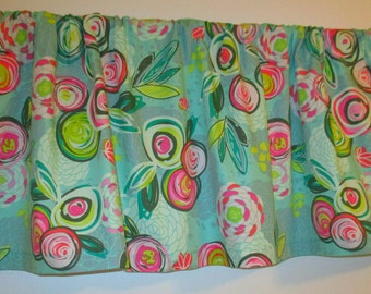 Great Value Aqua Rose Valance 40 x 15