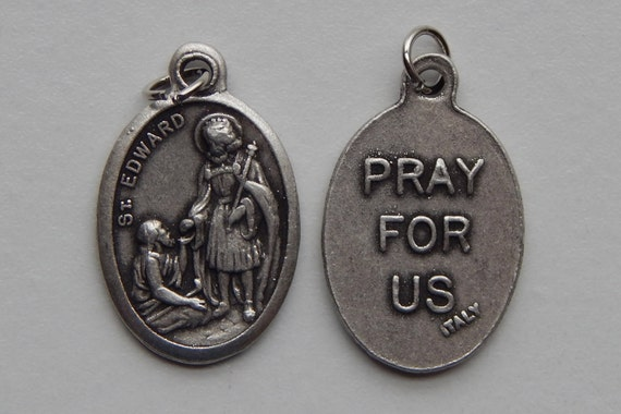 5 Patron Saint Medal Findings - St. Edward, Die Cast Silverplate, Silver Color, Oxidized Metal, Made in Italy, Charm, Drop, RM401