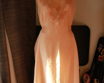 Sweet Vintage Silk Nightgown with Lace Trim and Silk Rosette