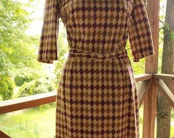 Autumn Vintage 1950s Diamond Plum Beige Jean Lang Original Dress Wool