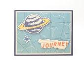 Boy's Happy Birthday Greeting Card, Boy's Astronaut Birthday Card, Outer Space Birthday Card, Planet Card for Little Boy, Handmade Card