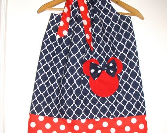 Minnie Mouse dress  navy blue pillowcase dress Disney clothing 3,6,9.12,18 month 2t,3t,4t,,5t,6,7,8,10,12