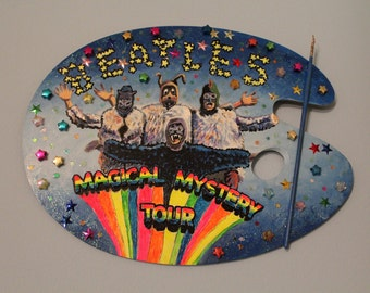 Magical Mystery Tour Hand painted Artist Pallet, wall hanging