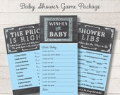 Chalkboard Baby Boy Game Package Set Blue Printable Baby Shower Games Wishes for Baby Game Price is Right Baby Mad Libs - INSTANT DOWNLOAD