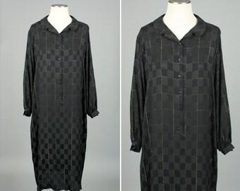 vintage SILK dress • black & gold tunic feather weight silk