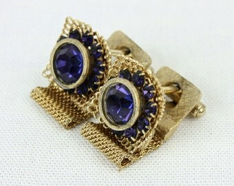 1970s oversized faceted glass blue gold cufflinks
