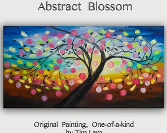 Abstract large original Oil Painting, Impasto Texture landscape painting Happy Tree Modern art on gallery canvas by tim lam 48x24