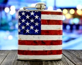 American Flag Whiskey Flask USA Red White Blue United States Men Birthday Groomsmen Gift Stainless Steel 6 oz Liquor Hip Flask LC-1005