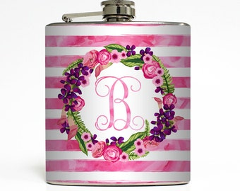 Custom Flask Personalized Stripe Flowers Initial Monogram Custom 21st Birthday Women Gifts Stainless Steel 6 oz Liquor Hip Flask LC-1612