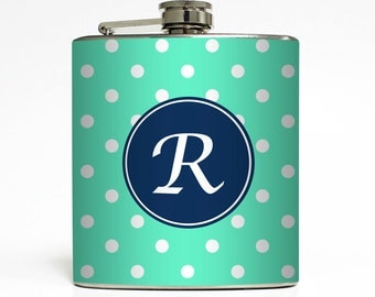 Personalized Polka Dot Flask with Your Initial Custom Color Bridesmaid Gift - Stainless Steel 6 oz Liquor Hip Flask LC-1124