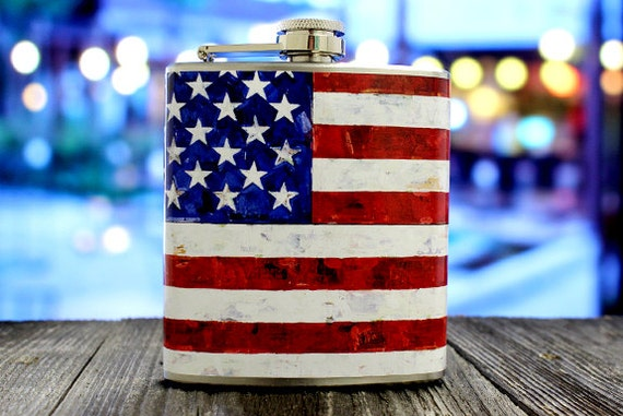 American Flag Whiskey Flask Patriotic USA Red White Blue United States Olympics Groomsmen Gift Stainless Steel 6 oz Liquor Hip Flask LC-1005