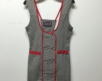 houndstooth dress, 80s vintage black white and red houndstooth printed fitted button dress, womens medium m