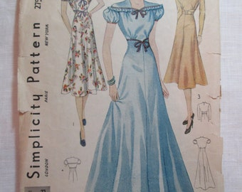 "Antique 1930's Simplicity Pattern #2757 - size 36"" Bust"