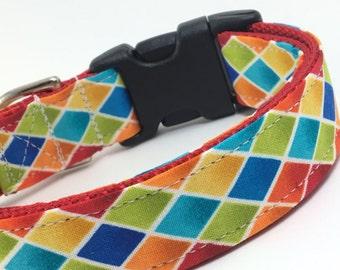 Custom Dog Collar - Rainbow Harlequin - Diamond Gemstone Collar - Rainbow Dog Collar - Bold Colors