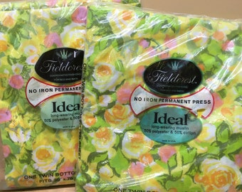 Vintage Sheet Fieldcrest Fitted Unopened Package Pair 1960s 1970s