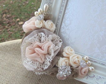 5x7  Shabby Chic Picture Frame, Vintage Wedding Decor, Ivory Picture Frame, Handmade Flowers
