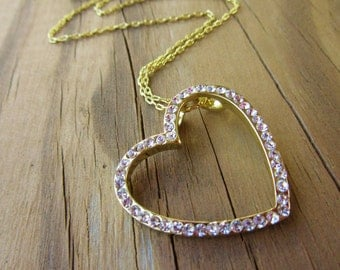 Goldplated Bright White CZ Slanted Heart Pendant Goldplated Chain