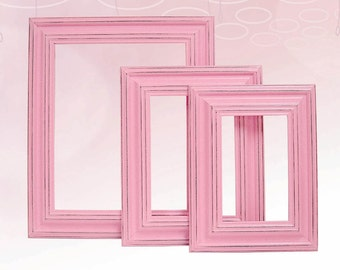 Picture Frame Picture Frame Set Shabby Chic Picture Frames Pink Nursery Decor Pink Wedding Frames Home Decor Wall Decor Wall Art
