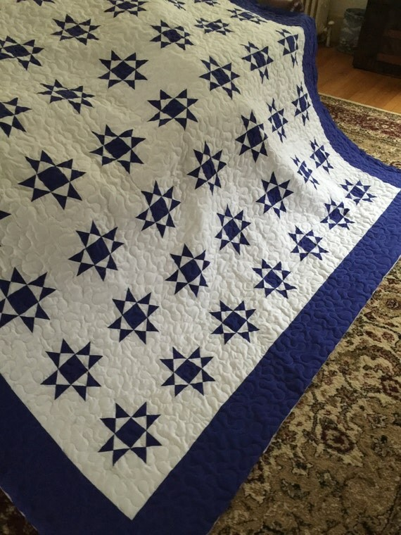 Quilt Ohio Star Blue and White Queen Ready to Ship