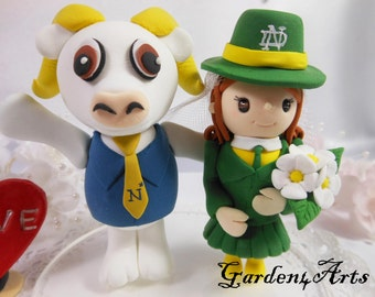 Mascot Wedding Cake Topper--NEW Unique College Mascot Love Couple with Circle Clear Base