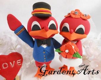 NEW--Mascot Wedding Cake Topper-Love MASCOT couple with circle clear base-custom handmade