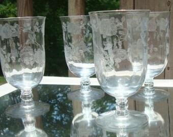Vintage Etched Wine Water Goblets Rose Pattern Crystal Wine Glasses Stemmed Glasses