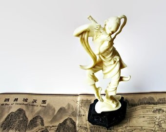 Depose Italy Ivory-Look Asian Figurine - Warrior Piper  -  Rare Collectible Celluloid