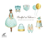 Wedding clipart - Bridesmaid clip art - Mint Bridesmaid dress - Mint wedding - Commercial use clip art - Cake clipart - Mint shoes - MK