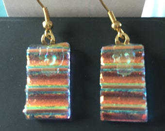 Earrings - glorious red & gold dichroic glass