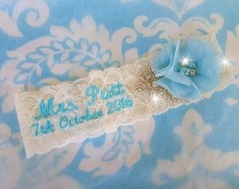 ivory Wedding Garter, Mrs garter, monogrammed stretch lace garter, crystal, rhinestone, blue chiffon beaded flower, personalized, customized