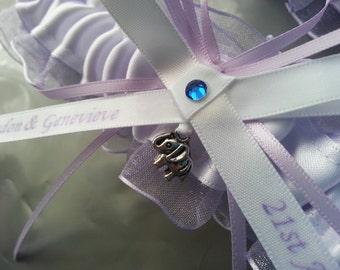 Lilac violetta and white Wedding Garter Set, organza garter set,  personalized garter. name garter, elephant garter, lilac garter set
