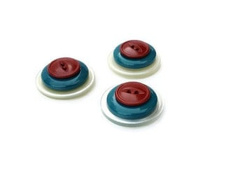 Retro Magnets Vintage Buttons Set of Three Turquoise Red White