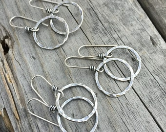 Sterling Silver Earring Hammered Circle Earwire Component Handmade Sterling Silver Earring