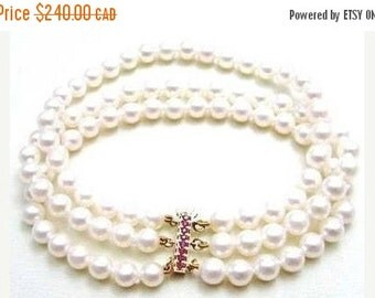 "ASHIRA CLOSING SALE: Ashira Genuine 14k Yellow Gold Natural Ruby Clasp 3 Strand Akoya Off-White Pearl Bracelet 7 1/2"""