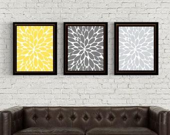 UNFRAMED Dahlia Prints, dahlia, dahila Wall Decor, Dahlia wall art, Dahlia Print, Dahlia Room Decor, light gray, yellow, Gray, wall decor,