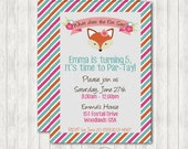 Fox Printable Birthday Invitation with optional Party Packages