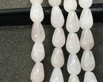 Pink Rose Quartz Stone Teardrop beads 8x12mm- Central Drilled- 33pcs/strand